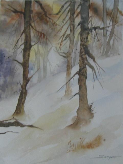 Forêt sous la neige - Format 24 x 32 cm